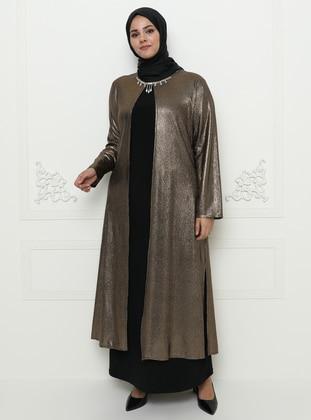 Bronze - Unlined - Crew neck - Muslim Plus Size Evening Dress