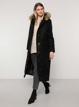 Black - Fully Lined - Plus Size Overcoat - Alia