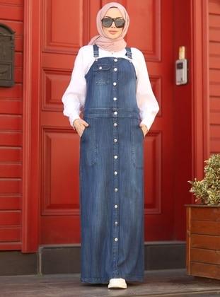 Navy Blue - Blue - Unlined - Denim - - Dress