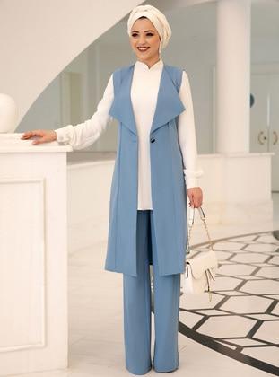 Blue - Unlined - Crepe - Suit