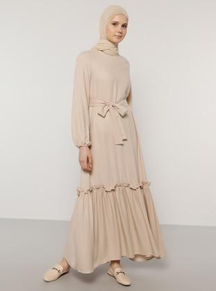 Beige - Crew neck - Unlined - Acrylic - Viscose - Dress