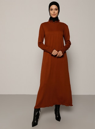 Cinnamon - Unlined - Polo neck - Acrylic -  - Knit Dresses
