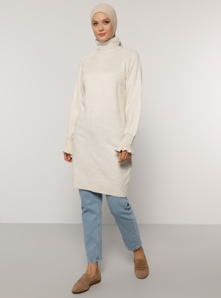 Beige - Polo neck - Unlined - Knit Tunics