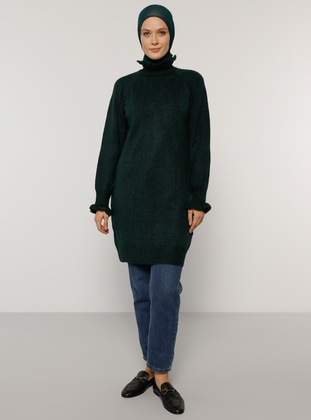 Green - Polo neck - Unlined - Knit Tunics