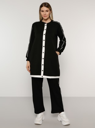 White - Ecru - Black -  - Plus Size Tracksuit