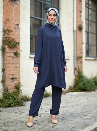 Navy Blue - Unlined - Acrylic - Viscose - Suit