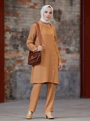 Camel - Unlined - Acrylic - Viscose - Suit