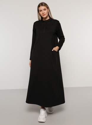 Black - Unlined - Button Collar -  - Plus Size Dress