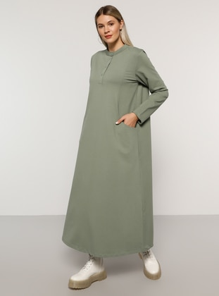 Olive Green - Unlined - Button Collar -  - Plus Size Dress