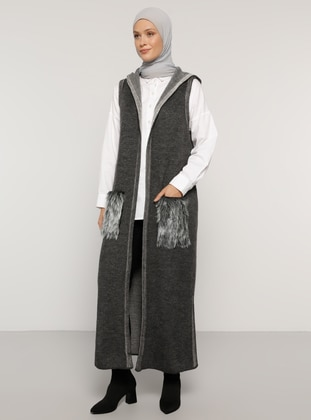Anthracite - Unlined - Acrylic -  - Vest - Refka