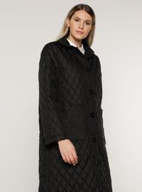 Black - Unlined - Plus Size Overcoat