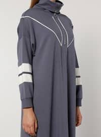 Ecru - Purple - Unlined - Polo neck -  - Plus Size Dress