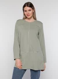 Olive Green - Crew neck -  - Plus Size Tunic