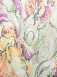 Multi - Lilac - Salmon - Sea-green - Printed - Scarf
