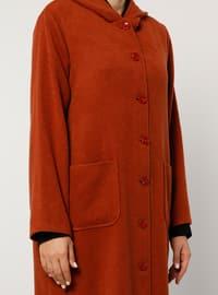 Terra Cotta - Unlined - Acrylic -  - Plus Size Overcoat