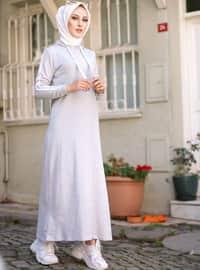 Gri - Astarsız - - Elbise