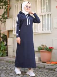 Navy Blue - Unlined - - Dress
