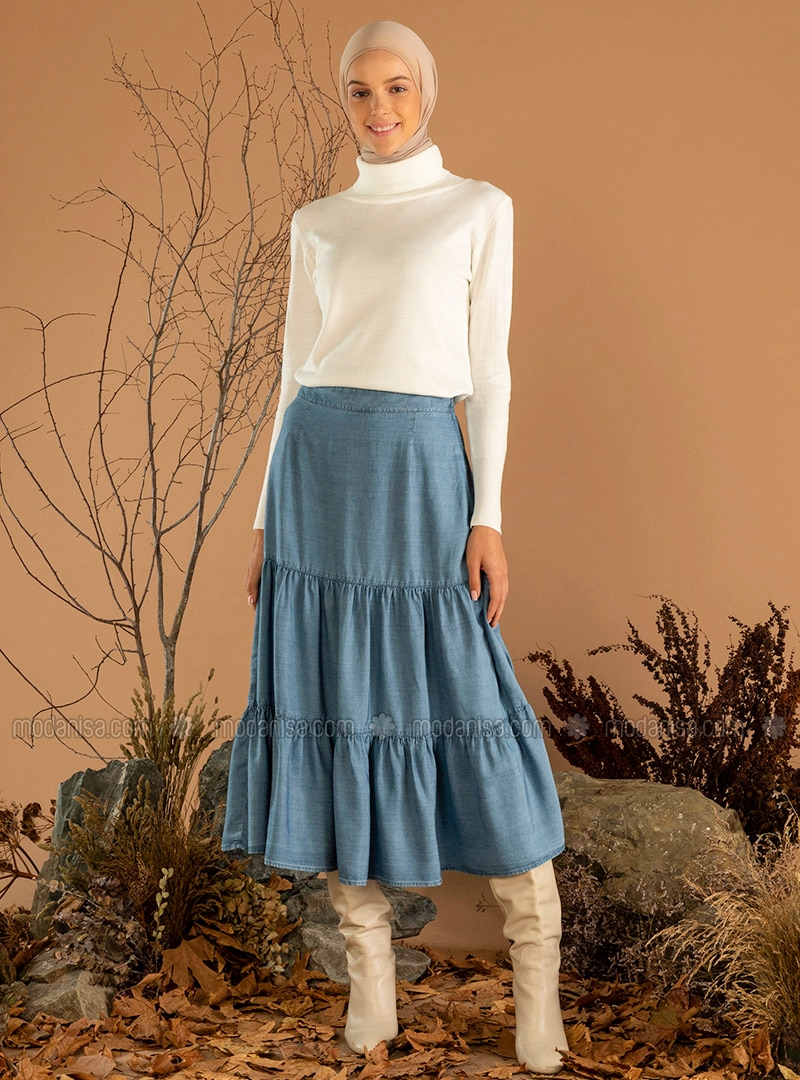 Indigo - Unlined - Denim -  Lyocell - Skirt