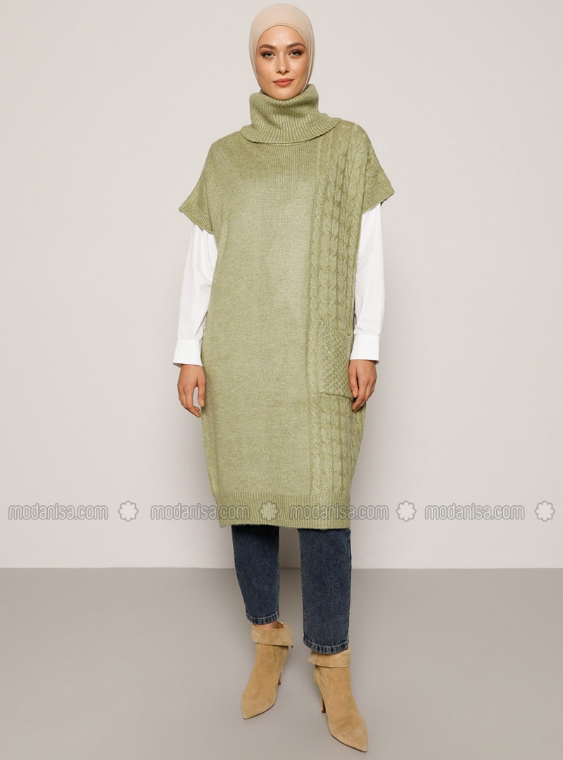 Green Almond - Green - Polo neck - Unlined - Knit Tunics