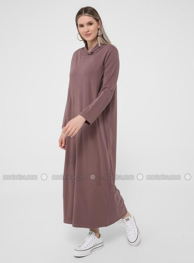 Purple - Unlined - Polo neck - - Plus Size Dress