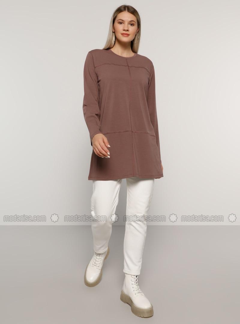Gray - Crew neck -  - Plus Size Tunic