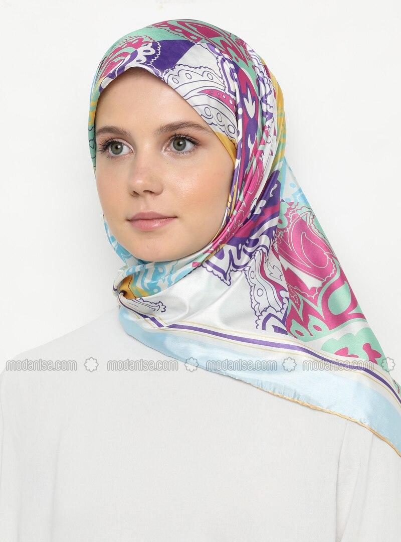 Multi - Blue - Pink - Printed - Scarf