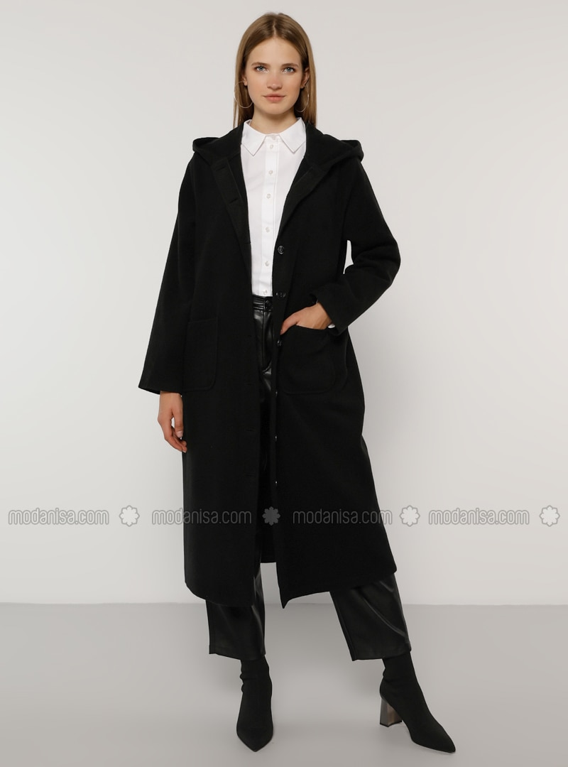Black - Unlined - Acrylic -  - Plus Size Overcoat