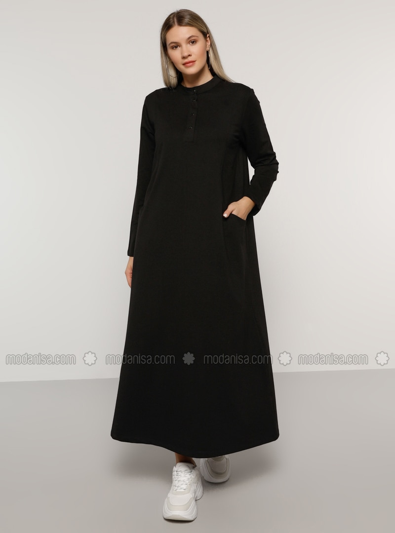 Black - Unlined - Button Collar -  - Plus Size Dress