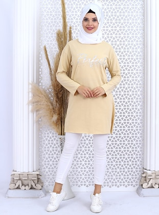 Camel - Crew neck - - Tunic