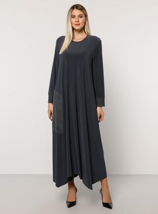 Anthracite - Unlined - Crew neck - Plus Size Dress