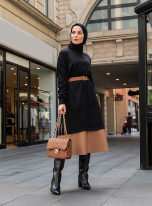 Camel - Unlined - Polyurethane - Skirt