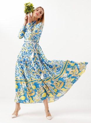 Saxe - Yellow - Saxe - Yellow - Multi - Point Collar - Unlined - Modest Dress