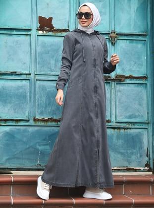 Gray - Unlined -  - Abaya