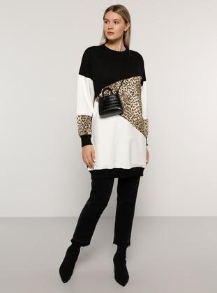 Ecru - Black - Leopard - Crew neck -  - Plus Size Tunic - Alia