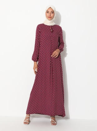 Plum - Polka Dot - Crew neck - Unlined - Viscose - Dress