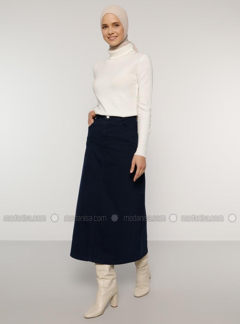 Navy Blue - Unlined - Denim -  - Skirt