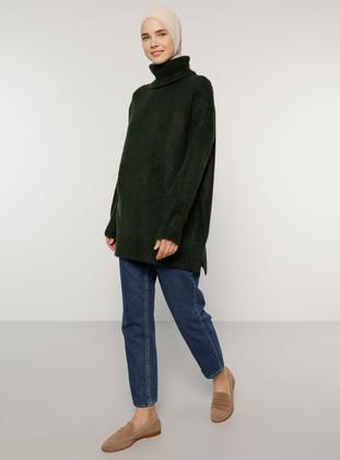 Green - Polo neck - Knit Tunics