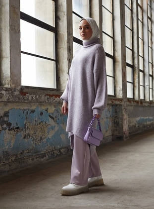 Lilac - Polo neck - Knit Tunics