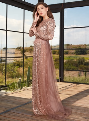 Gold - Fully Lined - Crew neck - Muslim Evening Dress