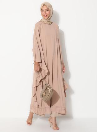 Camel - Unlined - Crew neck - Abaya