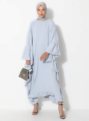 Gray - Unlined - Crew neck - Abaya