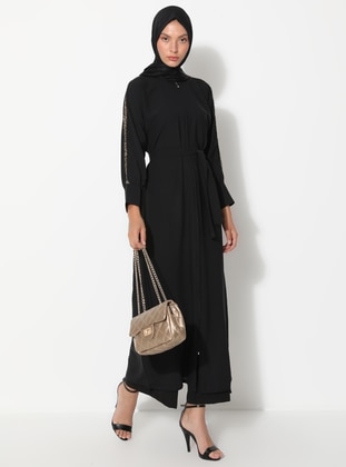 Gold - Black - Unlined - Crew neck - Abaya