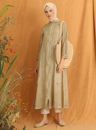 Brown - Unlined - Crew neck -  - Abaya