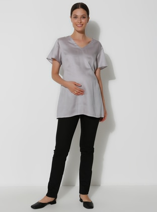 Gray - Crew neck -  Lyocell - Maternity Tunic