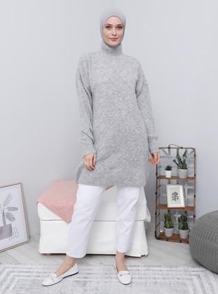 Silver tone - Polo neck - Knit Tunics