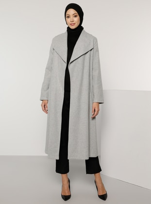 Gray - Fully Lined - V neck Collar - Acrylic -  - Coat