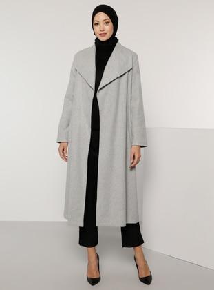 Gray - Fully Lined - V neck Collar - Acrylic -  - Coat - Tavin