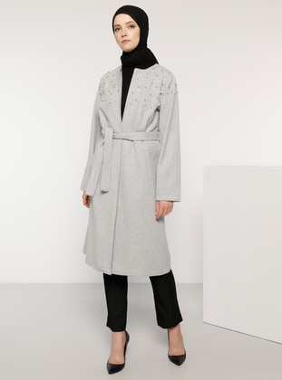 Gray - Fully Lined - Crew neck - Acrylic - Coat