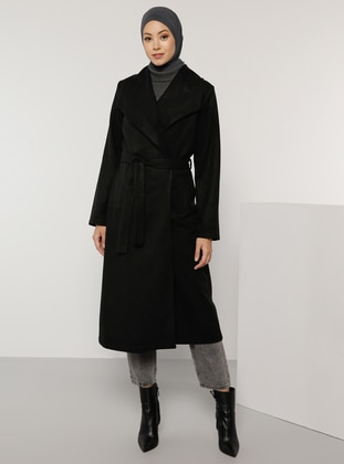 Black - Fully Lined - V neck Collar - Acrylic -  - Coat - Tavin