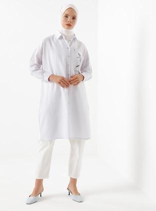White - Point Collar - Linen - Viscose - Tunic